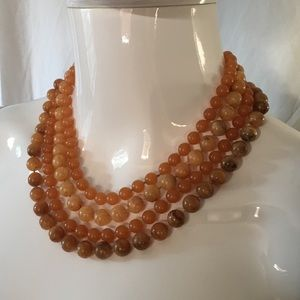 Vintage  1970's Amber Lucite Multi Strand Necklace